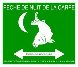 pancarte pêche de nuit de la carpe en vendée
